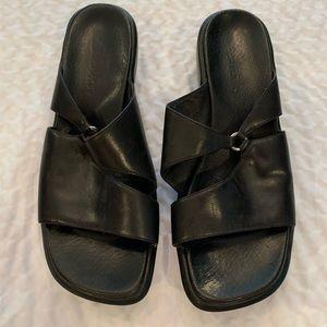 Black Clarks brand sandals